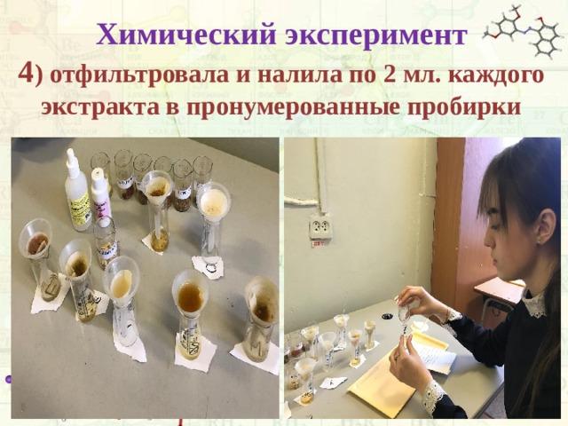 Химический эксперимент  4 ) отфильтровала и налила по 2 мл. каждого экстракта в пронумерованные пробирки