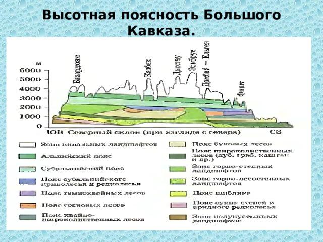 Высотная поясность Большого Кавказа.