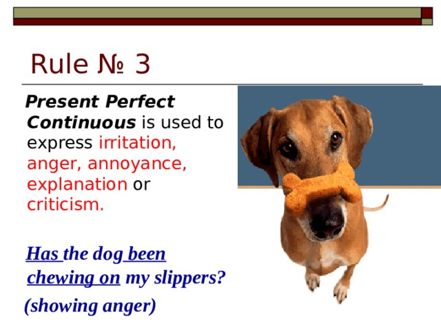 Rule № 3  Present Perfect Continuous is used to express irritation, anger, annoyance, explanation or criticism.   Has the dog been chewing on my slippers?   (showing anger)