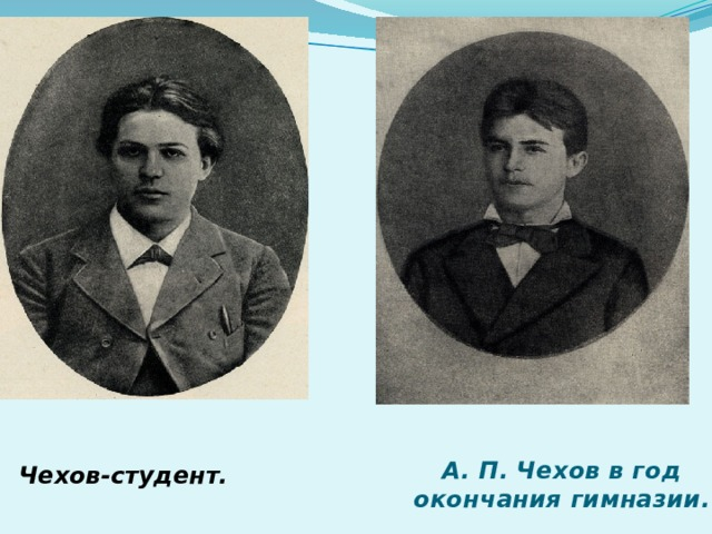 А. П. Чехов в год окончания гимназии. Чехов-студент.