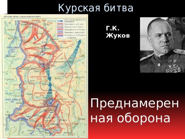 Курская битва Г.К. Жуков Преднамеренная оборона