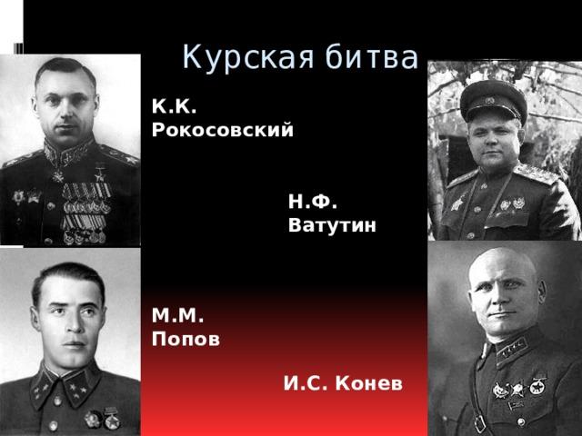 Курская битва К.К. Рокосовский Н.Ф. Ватутин М.М. Попов И.С. Конев
