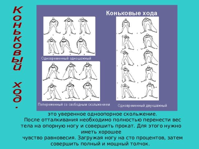 это уверенное одноопорное скольжение. После отталкивания необходимо полностью перенести вес тела на опорную ногу и совершить прокат. Для этого нужно иметь хорошее чувство равновесия. Загружая ногу на сто процентов, затем совершить полный и мощный толчок.