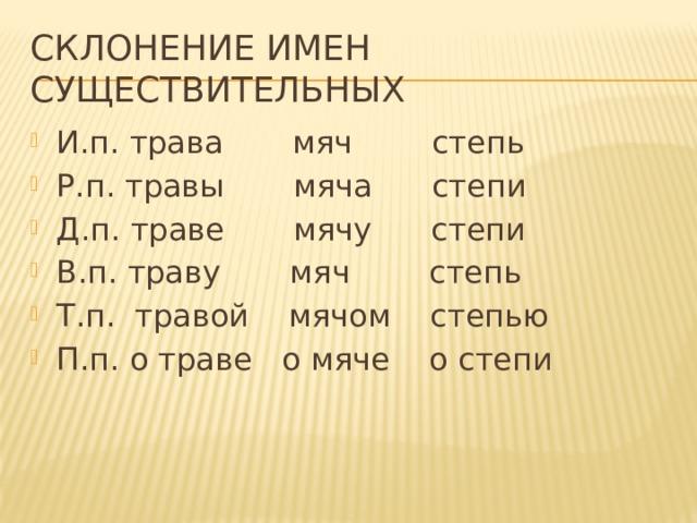 Склонение имен существительных