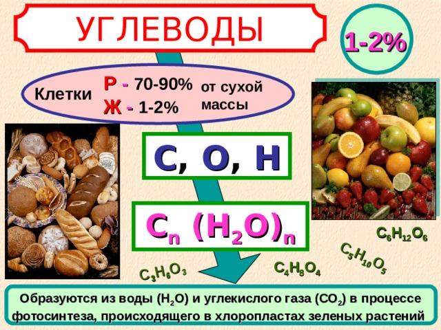 С 5 Н 10 О 5 С 3 Н 6 О 3 УГЛЕВОДЫ 1-2% Р - 70-90%  Ж - 1-2% от сухой массы Клетки С ,  О ,  Н С n  (Н 2 О) n С 6 Н 12 О 6 С 4 Н 8 О 4 Образуются из воды (Н 2 О) и углекислого газа (СО 2 ) в процессе фотосинтеза, происходящего в хлоропластах зеленых растений
