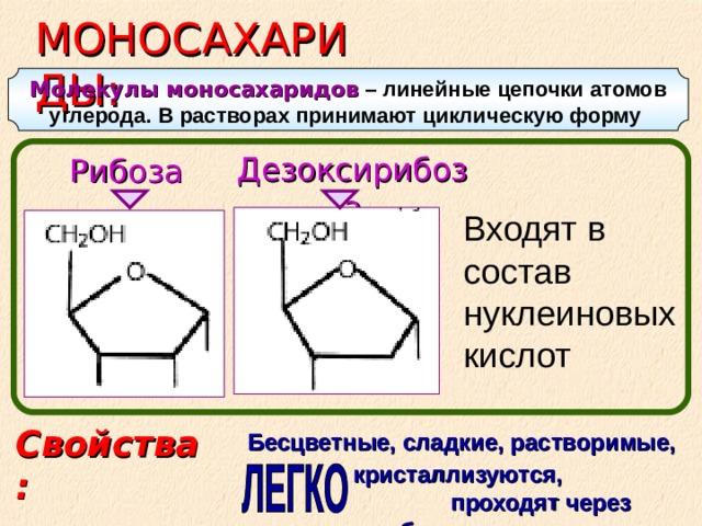 МОНОСАХАРИДЫ: Молекулы моносахаридов – линейные цепочки атомов углерода. В растворах принимают циклическую форму  Дезоксирибоза Рибоза  Входят в состав нуклеиновых кислот Свойства: Бесцветные, сладкие, растворимые,  кристаллизуются, проходят через мембраны
