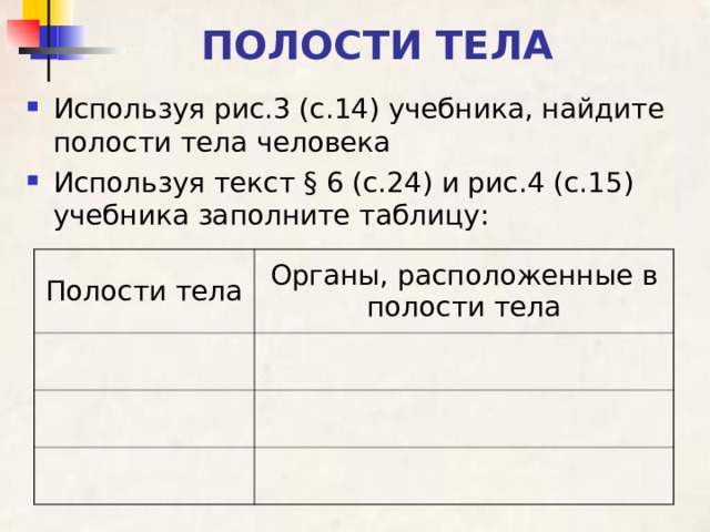 ПОЛОСТИ ТЕЛА Используя рис.3 (с.14) учебника, найдите полости тела человека Используя текст § 6 (с.24) и рис.4 (с.15) учебника заполните таблицу: Полости тела Органы, расположенные в полости тела