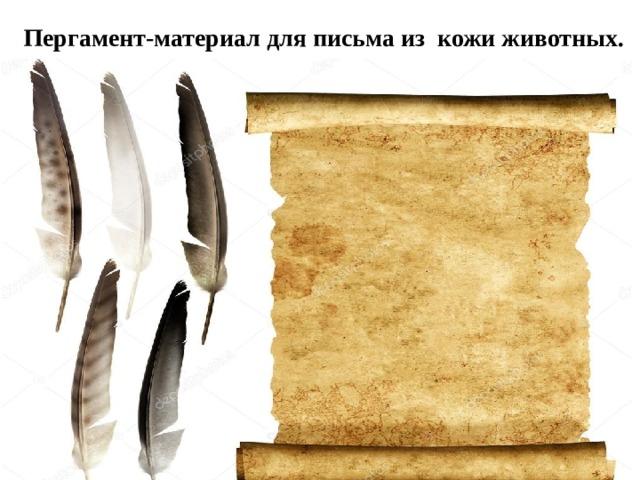 Пергамент-материал для письма из кожи животных.