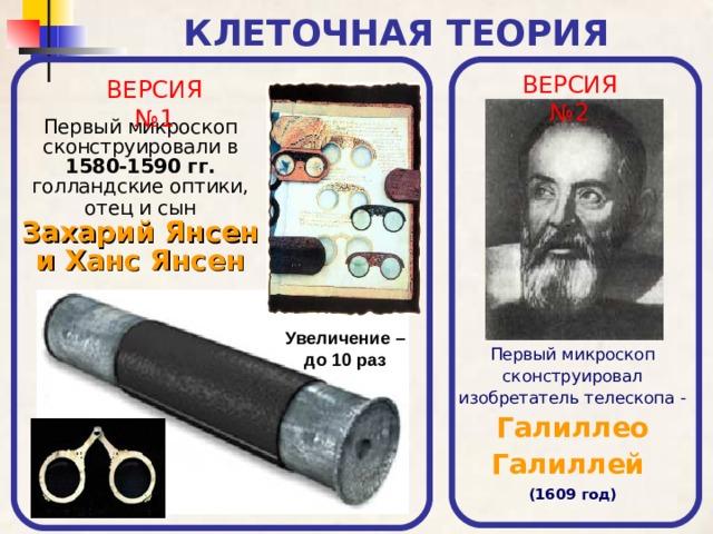 КЛЕТОЧНАЯ ТЕОРИЯ ВЕРСИЯ №2 ВЕРСИЯ №1 Первый микроскоп сконструировали в 1580-1590 гг.  голландские оптики, отец и сын  Захарий Янсен и Ханс Янсен Увеличение – до 10 раз Первый микроскоп сконструировал изобретатель телескопа -  Галиллео Галиллей  (1609 год)
