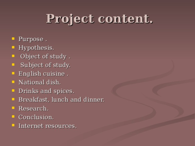 Project content.