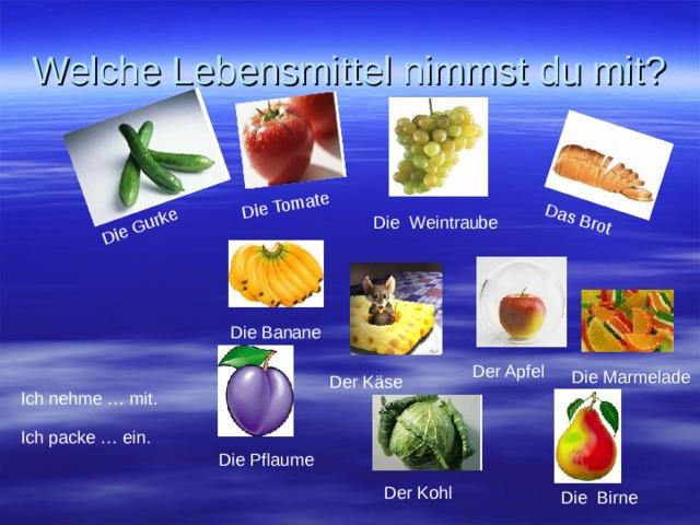 Die Gurke Die Tomate Das Brot Welche Lebensmittel nimmst du mit ? Die Weintraube Die Banane Der Apfel Die Marmelade Der Käse Ich nehme … mit. Ich packe … ein. Die Pflaume Der Kohl Die Birne