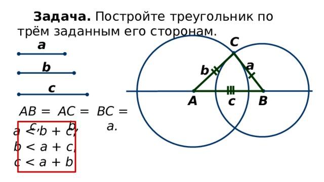 Задача. Постройте треугольник по трём заданным его сторонам. C а а b b c В А c BC = a. AC = b, AB = c, a b + c , b a + c , c a + b .