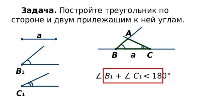 Задача. Постройте треугольник по стороне и двум прилежащим к ней углам. А а а С В В 1 ∠  В 1  +  ∠ C 1 C 1