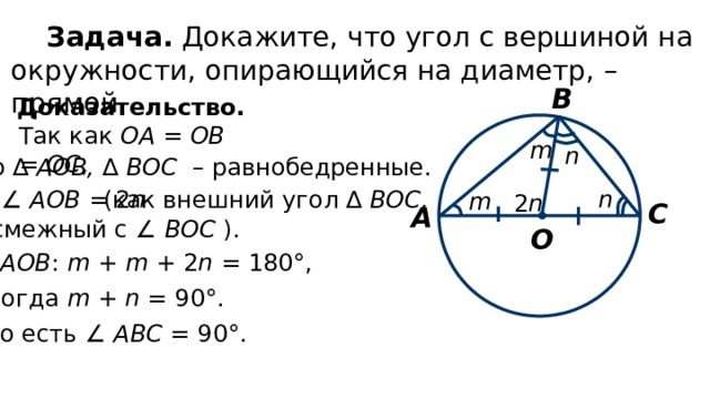 Задача. Докажите, что угол с вершиной на окружности, опирающийся на диаметр, – прямой. В Доказательство. Так как ОА = ОВ = ОС , m n то ∆ АОВ, ∆ ВОС – равнобедренные. n ∠ AOB = 2 n  (как внешний угол ∆ ВОС, m 2 n С А смежный с ∠ ВОС ). О ∆  АОВ : m + m + 2 n = 180°, тогда m + n = 90°. То есть ∠ АВС = 90°.