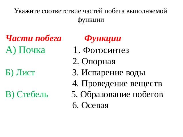 Укажите соответствие частей побега выполняемой функции Части побега Функции А) Почка 1. Фотосинтез   2. Опорная Б) Лист  3. Испарение воды   4. Проведение веществ В) Стебель 5. Образование побегов   6. Осевая