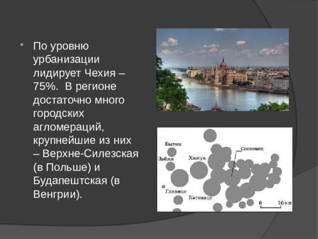 По уровню урбанизации лидирует Чехия – 75%. В регионе достаточно много городских агломераций, крупнейшие из них – Верхне-Силезская (в Польше) и Будапештская (в Венгрии).