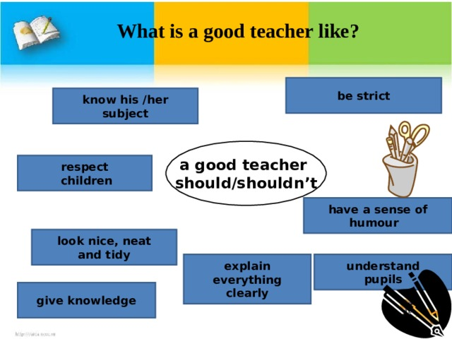What is a good teacher like?          be strict know his /her subject a good teacher should/shouldn't respect  children have a sense of humour look nice, neat and tidy explain everything clearly understand pupils give knowledge