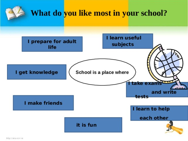 What do you like most in your school?           I learn useful subjects  I prepare for adult life School is a place where I get knowledge I take exams and write tests I make friends I learn to help each other  it is fun