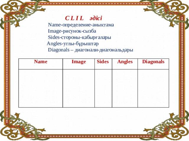 C L I L әдісі  Name-определение-анықтама  Image-рисунок-сызба  Sides-стороны-қабырғалары  Angles-углы-бұрыштар  Diagonals – диагонали-диагональдары     Name Image Sides Angles Diagonals