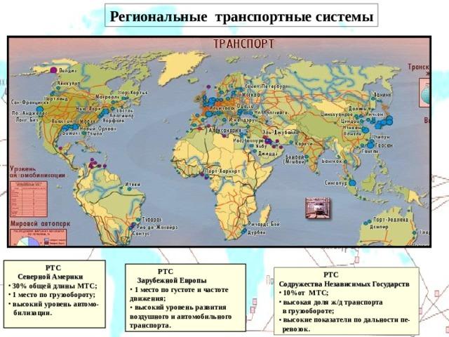 Региональные транспортные системы О ДНАКО МИРОВЫЕ ГРУЗОВЫЕ И ПАССАЖИРСКИЕ ПЕРЕВОЗКИ ГЕОГРАФИЧЕСКИ РАСПРЕДЕЛЕНЫ КРАЙНЕ НЕРАВНОМЕРНО!  РТС  Северной Америки  30% общей длины МТС;  1 место по грузообороту;  высокий уровень автомо-  билизации.   РТС  Зарубежной Европы  1 место по густоте и частоте движения;  высокий уровень развития воздушного и автомобильного транспорта.  РТС Содружества Независимых Государств  10%от МТС;  высокая доля ж/д транспорта  в грузообороте;  высокие показатели по дальности пе-  ревозок.