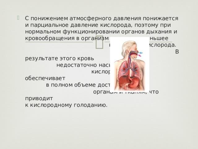 С понижением атмосферного давления понижается и парциальное давление кислорода, поэтому при нормальном функционировании органов дыхания и кровообращения в организм поступает меньшее количество кислорода. В результате этого кровь недостаточно насыщается кислородом и не обеспечивает в полном объеме доставку его органам и тканям, что приводит к кислородному голоданию.