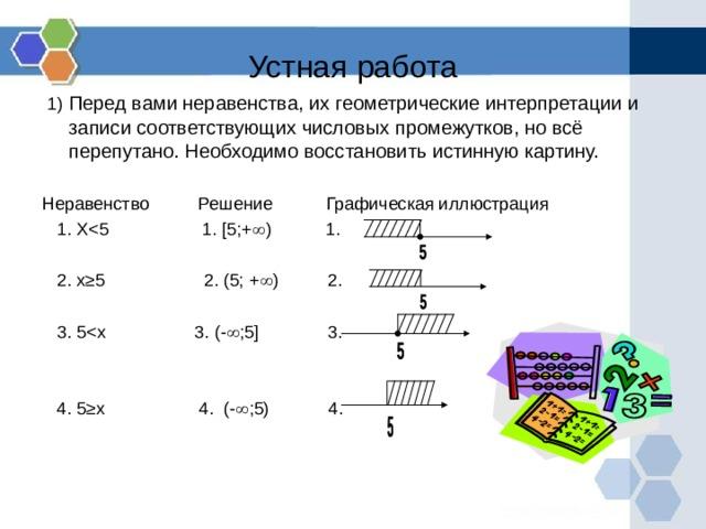 Устная работа  1) Перед вами неравенства, их геометрические интерпретации и записи соответствующих числовых промежутков, но всё перепутано. Необходимо восстановить истинную картину.  Неравенство Решение Графическая иллюстрация  1. X 2. x≥5 2. (5; +  ) 2.  3. 5 4. 5≥x 4. (-  ;5) 4.