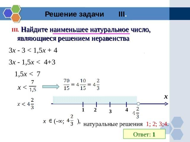Решение задачи III .  III .  Найдите наименьшее натуральное число, являющиеся решением неравенства 3 х - 3 х + 4 3 х - 1,5 х  1,5 х  х  х 2 1 4 3 x (-∞;  ) , натуральные решения 1; 2; 3;4 . Ответ: 1