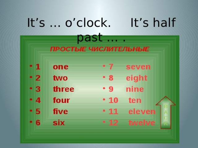 It's … o'clock. It's half past … .