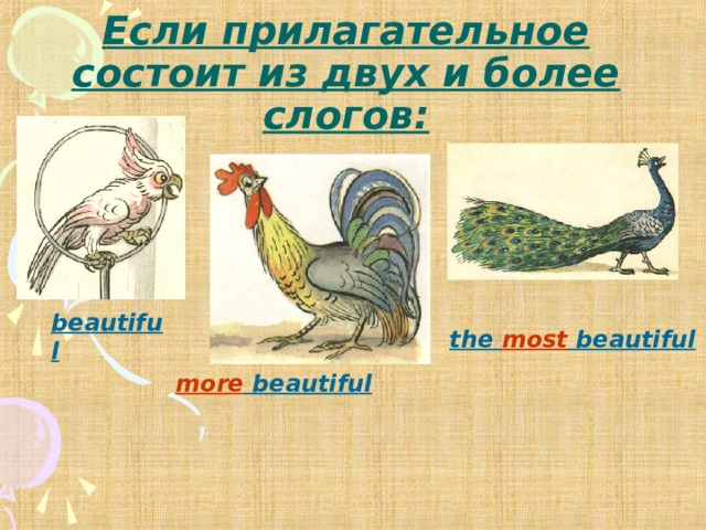 Если прилагательное состоит из двух и более слогов: beautiful the most beautiful more beautiful