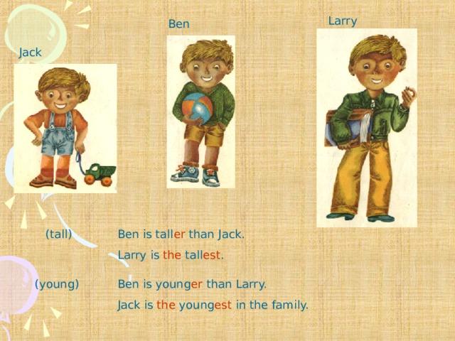 Larry Ben Jack (tall) Ben is tall er than Jack. Larry is the tall est . Ben is young er than Larry. Jack is the young est in the family. (young)