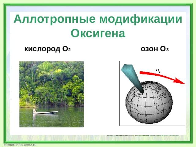 Аллотропные модификации Оксигена кислород О 2 озон О 3