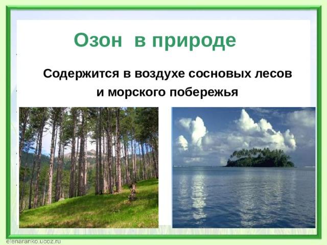 Озон в природе Содержится в воздухе сосновых лесов  и морского побережья
