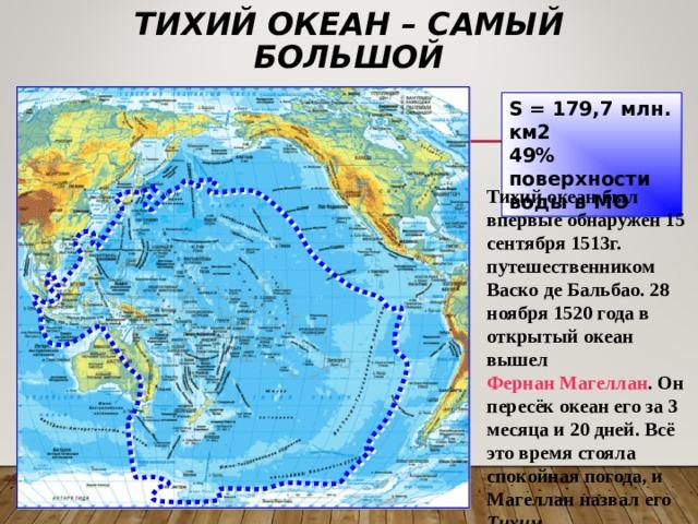 ТИХИЙ ОКЕАН – САМЫЙ БОЛЬШОЙ S = 179,7 млн. км2 49% поверхности воды в МО Тихий океан был впервые обнаружен 15 сентября 1513г. путешественником Васко де Бальбао. 28 ноября 1520 года в открытый океан вышел Фернан Магеллан . Он пересёк океан его за 3 месяца и 20 дней. Всё это время стояла спокойная погода, и Магеллан назвал его Тихим.