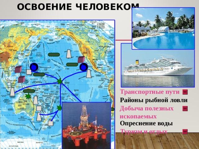 ОСВОЕНИЕ ЧЕЛОВЕКОМ Транспортные пути Районы рыбной ловли Добыча полезных ископаемых Опреснение воды Туризм и отдых 14