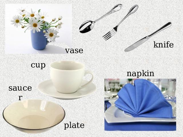 knife vase cup napkin saucer plate
