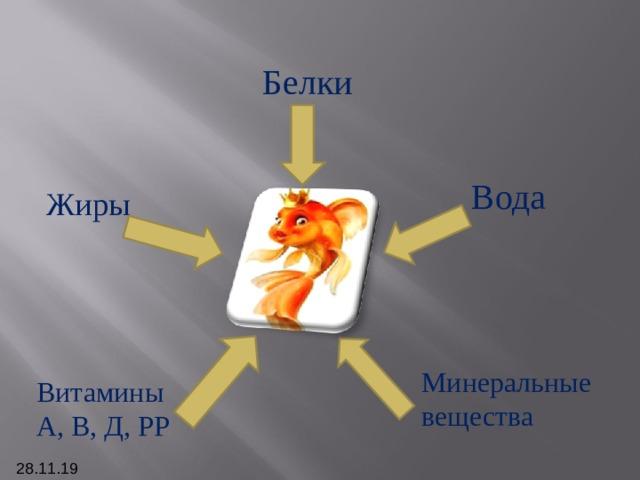 Белки Вода Жиры Минеральные вещества Витамины А, В, Д, РР 28.11.19