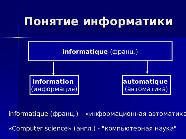 Понятие информатики  informatique (франц.) information (информация) automatique (автоматика) informatique (франц.) – «информационная автоматика
