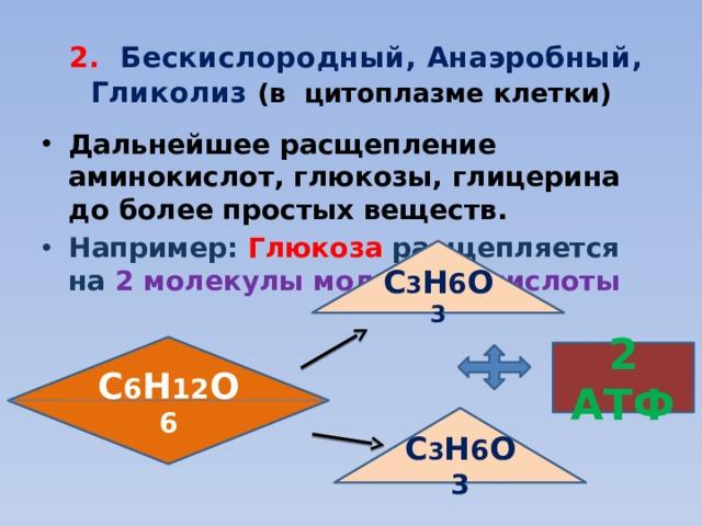 2. Бескислородный, Анаэробный, Гликолиз (в цитоплазме клетки) Дальнейшее расщепление аминокислот, глюкозы, глицерина до более простых веществ. Например: Глюкоза расщепляется на 2 молекулы молочной кислоты С 3 Н 6 О 3 С 6 Н 12 О 6 2 АТФ С 3 Н 6 О 3