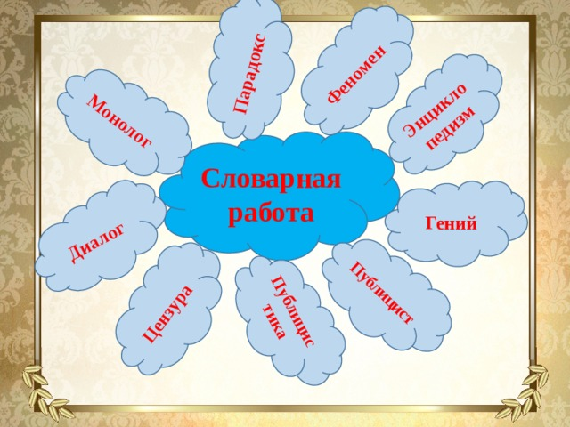 Монолог Парадокс Феномен Энцикло  педизм Публицист Публицистика Цензура Диалог Словарная работа Гений