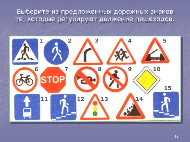 Выберите из предложенных дорожных знаков те, которые регулируют движение пешеходов. 1 2 3 4 5 6 7 8 10 9 15 11 12 13 14 12