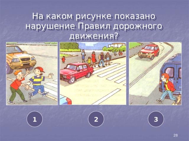 На каком рисунке показано нарушение Правил дорожного движения? 1 2 3 28