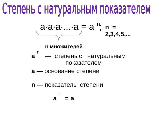 n а·а·а·...·а = а ; n = 2,3,4,5,... n множителей n а — степень с натуральным      показателем а —  основание степени n — показатель степени 1 а = а