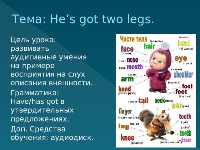 Тема: He's got two legs. Цель урока: развивать аудитивные умения на примере восприятия на слух описания внешности. Грамматика: Have/has got в утвердительных предложениях. Доп. Средства обучения: аудиодиск.
