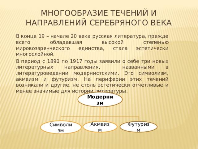 Многообразие течений и направлений Серебряного века В конце 19 – начале 20 века русская литература, прежде всего обладавшая высокой степенью мировоззренческого единства, стала эстетически многослойной. В период с 1890 по 1917 годы заявили о себе три новых литературных направления, названными в литературоведении модернистскими. Это символизм, акмеизм и футуризм. На периферии этих течений возникали и другие, не столь эстетически отчетливые и менее значимые для истории литературы. Модернизм Символизм Акмеизм Футуризм