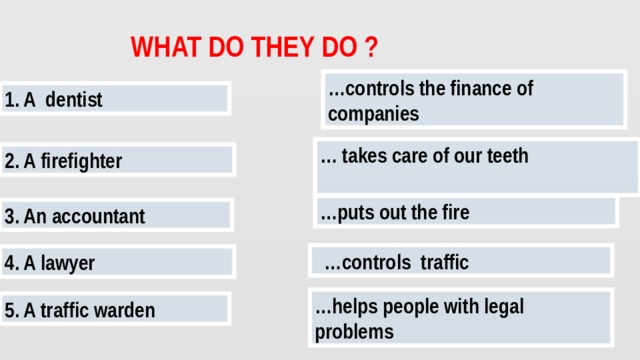 WHAT DO THEY DO ? … controls the finance of companies 1. A dentist …  takes care of our teeth  2. A firefighter … puts out the fire 3. An accountant … controls traffic 4. A lawyer … helps people with legal problems 5. A traffic warden
