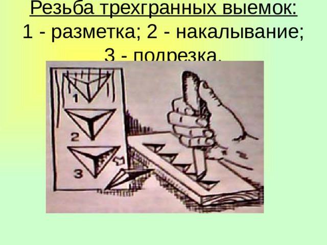 Резьба трехгранных выемок:  1 - разметка; 2 - накалывание; 3 - подрезка.