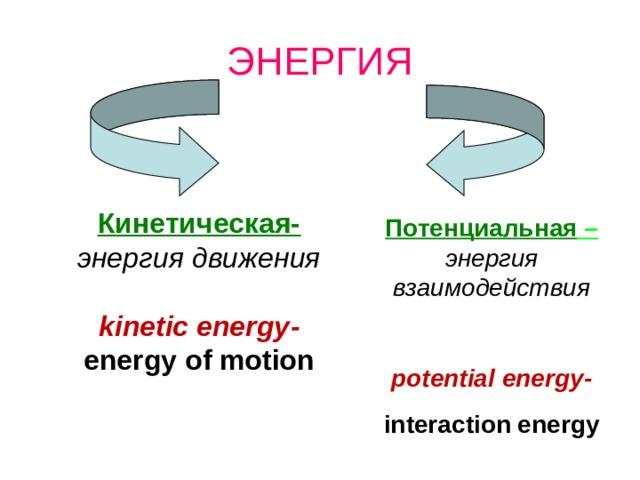 ЭНЕРГИЯ Кинетическая- энергия движения  kinetic energy - energy of motion Потенциальная – энергия взаимодействия  potential energy - interaction energy