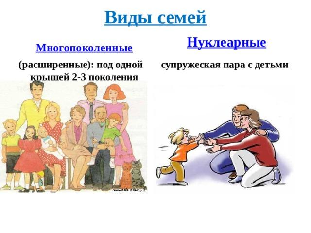 Виды семей  Нуклеарные Многопоколенные  (расширенные): под одной крышей 2-3 поколения супружеская пара с детьми