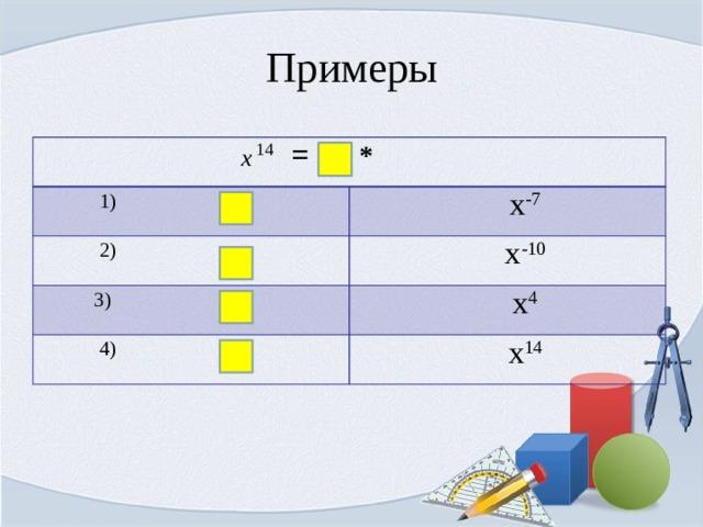 Примеры  =  *  1) х -7  2) х -10  3)  х 4  4)  х 14