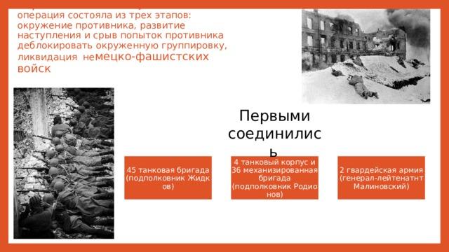 Стратегическая наступательная операция состояла из трех этапов: окружение противника, развитие наступления и срыв попыток противника деблокировать окруженную группировку, ликвидация не мецко-фашистских войск Первыми соединились  45 танковая бригада (подполковникЖидков) 4 танковый корпус и 36 механизированная бригада (подполковникРодионов) 2 гвардейская армия (генерал-лейтенатнт Малиновский)